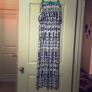 Black & White Aztec Print Maxi Dress